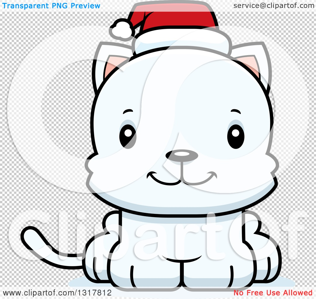 Animal Clipart of a Cartoon Cute Happy White Christmas Kitten Cat ...