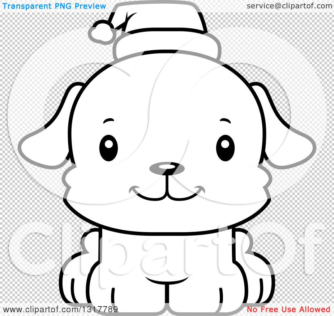 Animal Lineart Clipart of a Cartoon Black and WhiteCute Happy ...