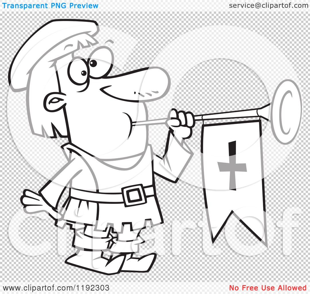 Cartoon Black and White Line Art of a Herald Blowing a Horn ...