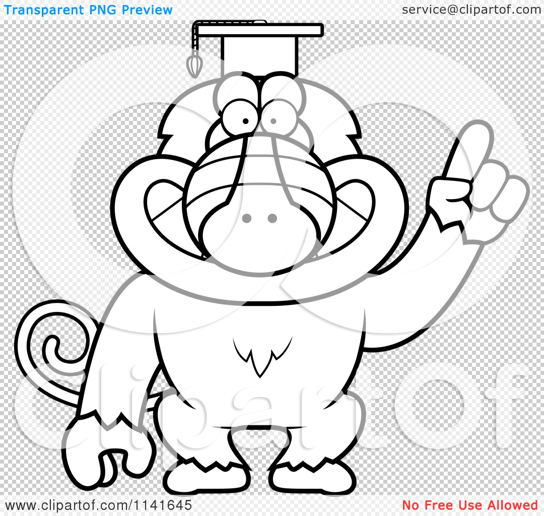 cartoon clipart of a black and white baboon monkey wearing a