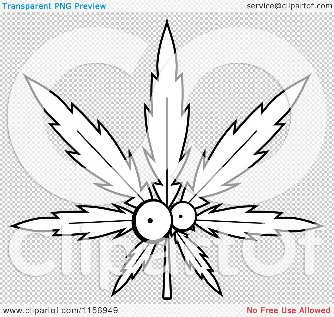 Cartoon Clipart Of A Black And White Cannabis Pot Leaf Character ...