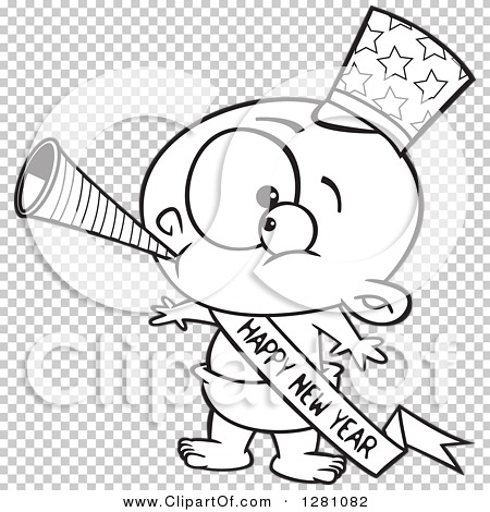 Cartoon Clipart of a Black and White Cartoon New Year Baby Blowing ...