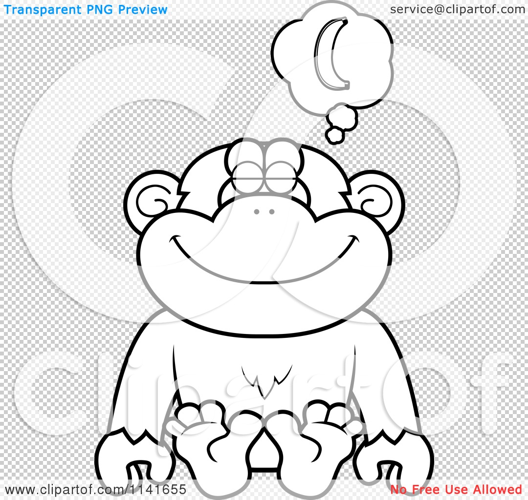 cartoon clipart of a black and white chimpanzee daydreaming of