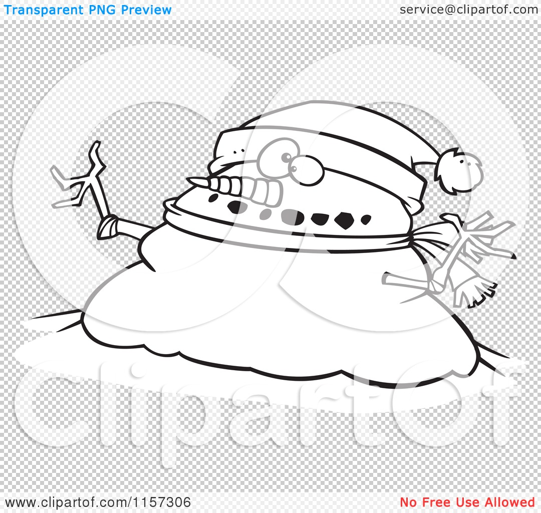 Mr Snowman On Christmas Touching A Snowflake Coloring Page: Cartoon Clipart Of A Black And White Chubby Christmas