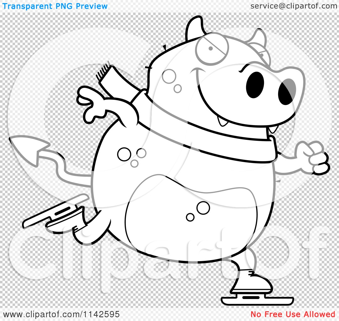Cartoon Clipart Of A Black And White Chubby Devil Ice Skating - Vector ...