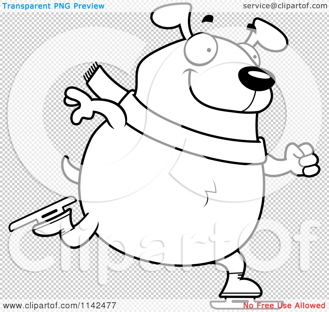 Cartoon Clipart Of A Black And White Chubby Dog Ice Skating - Vector ...