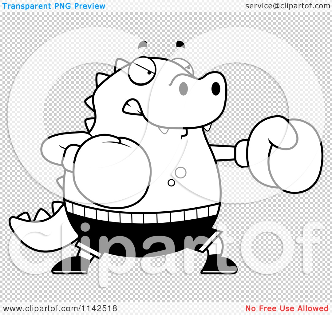 cartoon clipart of a black and white chubby lizard boxing vector