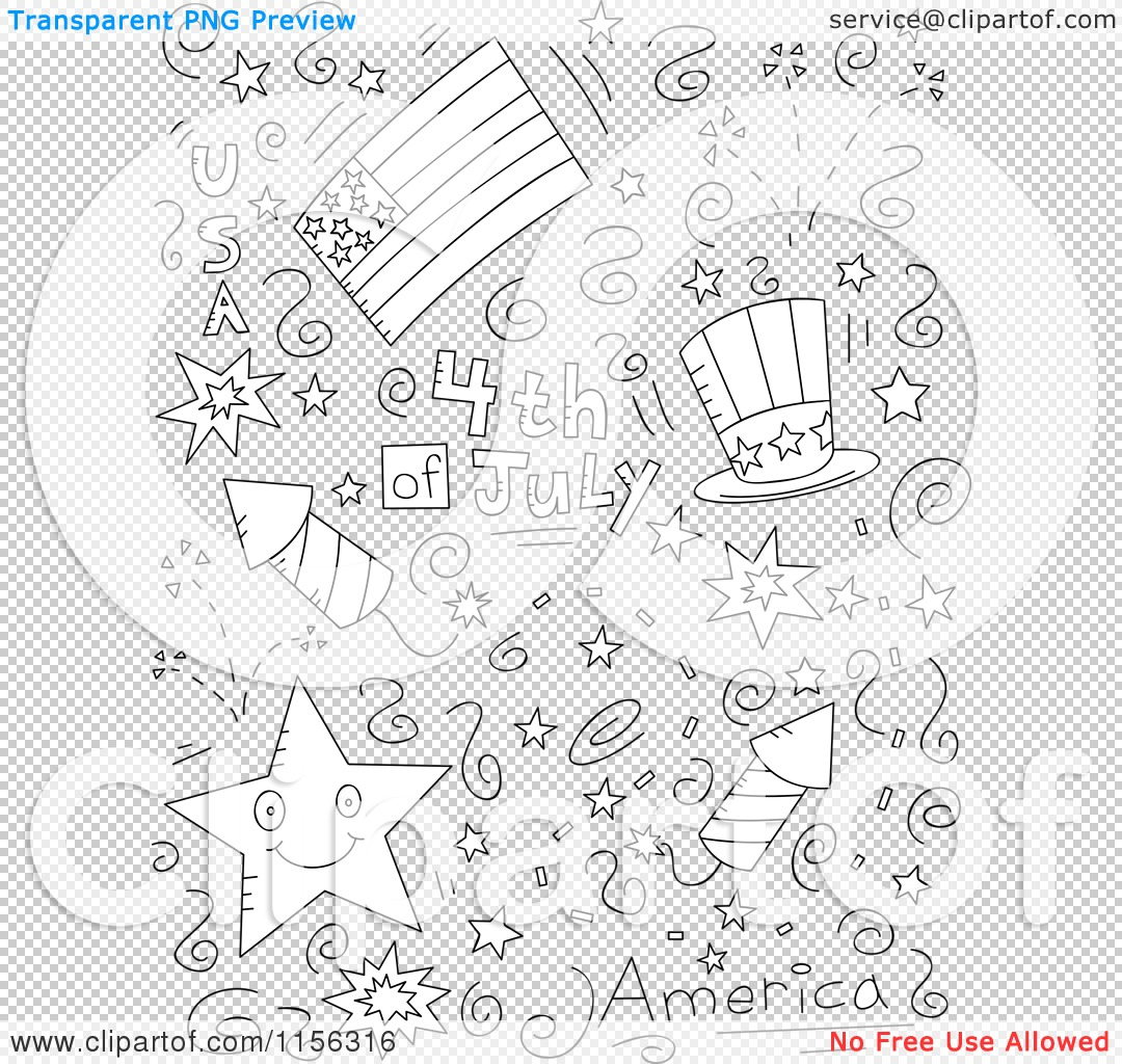 cartoon clipart of a black and white collage of fourth of july