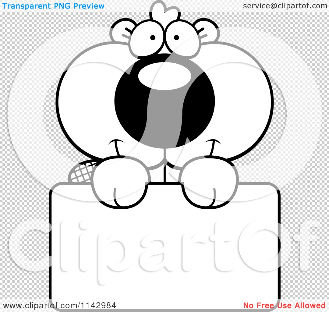 cartoon clipart of a black and white cute beaver holding a sign