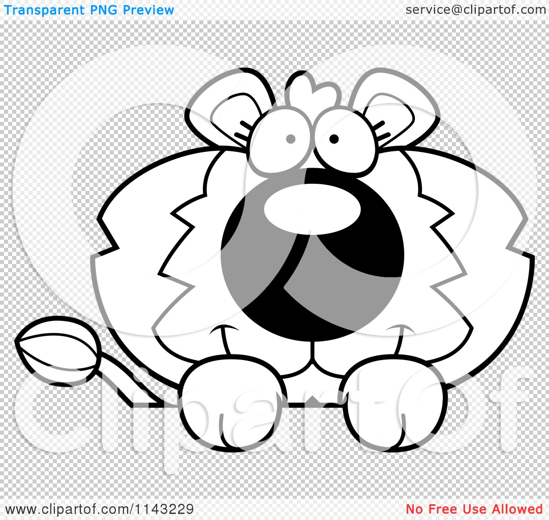 cartoon clipart of a black and white cute lion over a surface