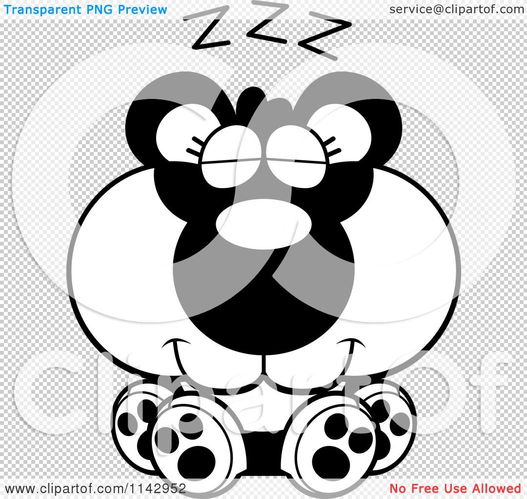 cartoon clipart of a black and white cute sleeping panda vector