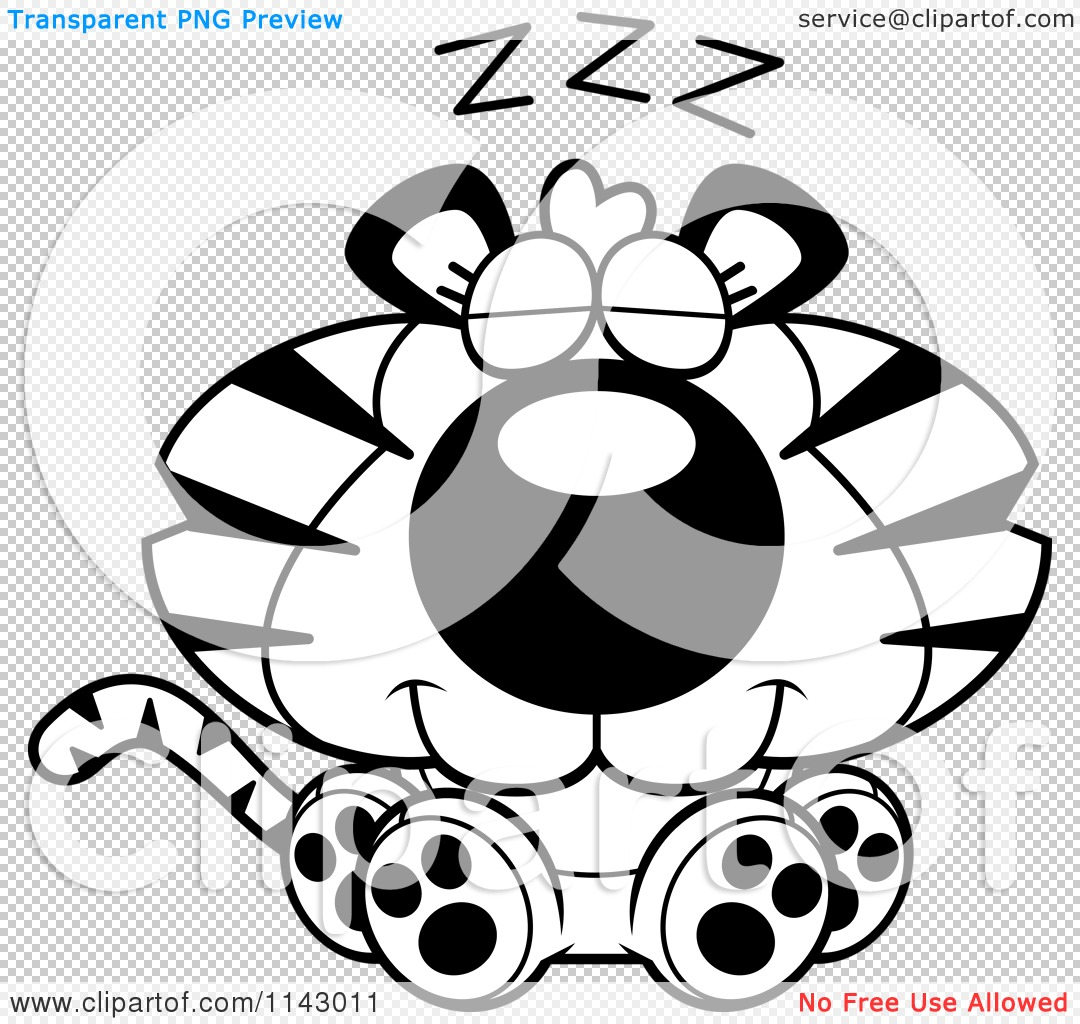 cartoon clipart of a black and white cute sleeping tiger vector