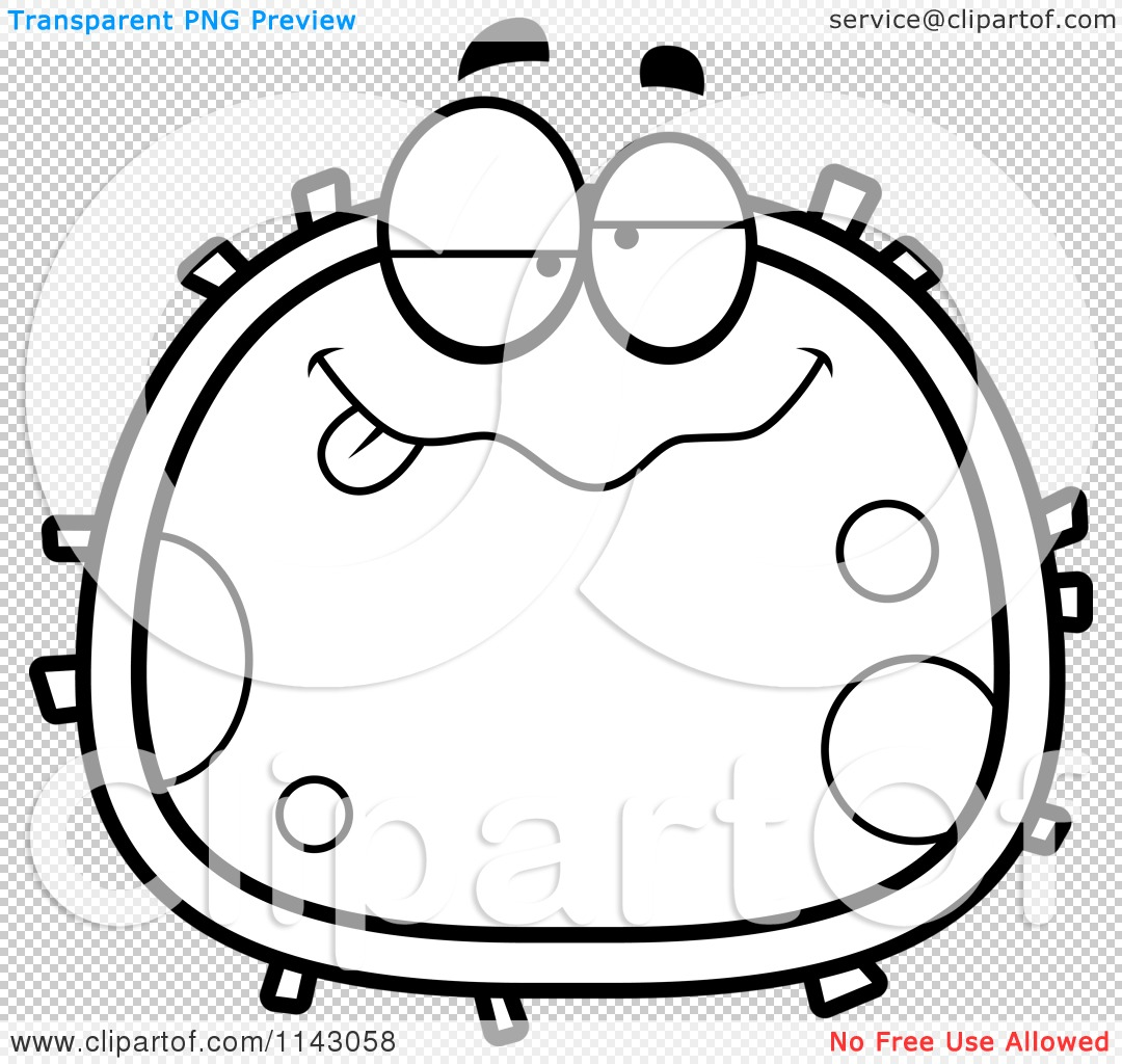 Cartoon Clipart Of A Black And White Drunk Blood Cell - Vector ...