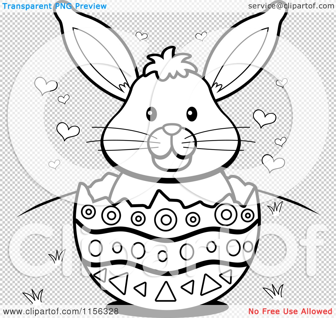 Cartoon Clipart Of A Black And White Easter Bunny With