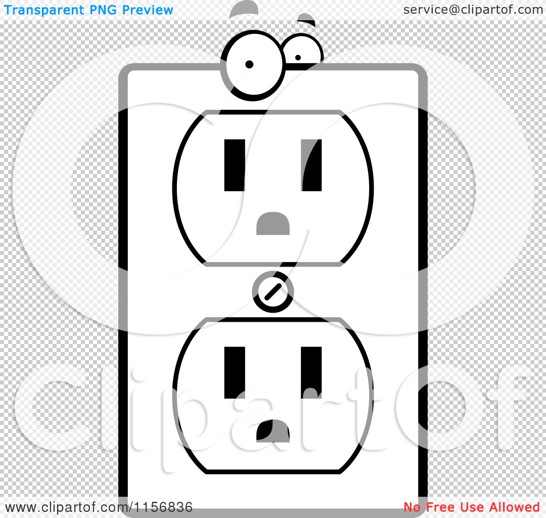 cartoon clipart of a black and white electrical outlet