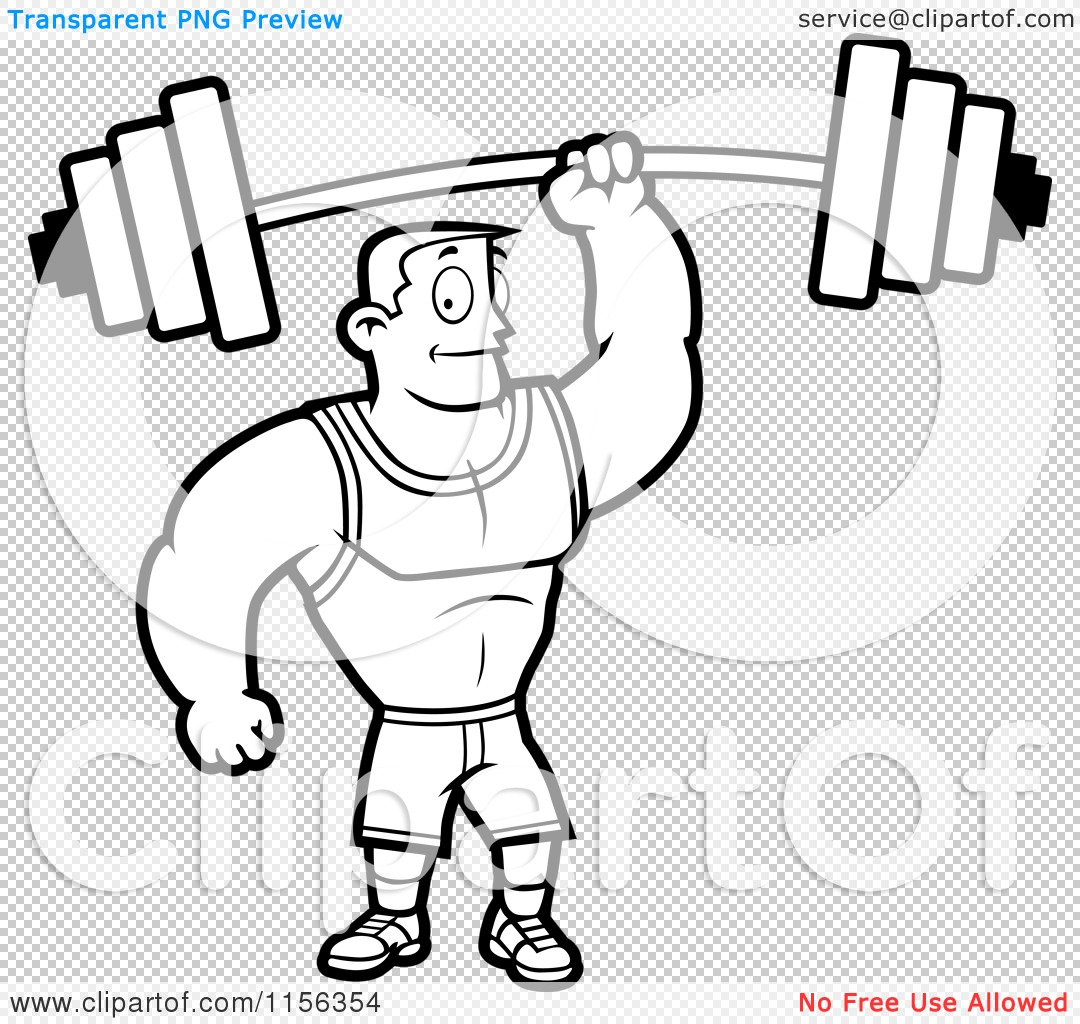 Cartoon Clipart Of A Black And White Fitness Man Holding up a Barbell with One Hand - Vector ...