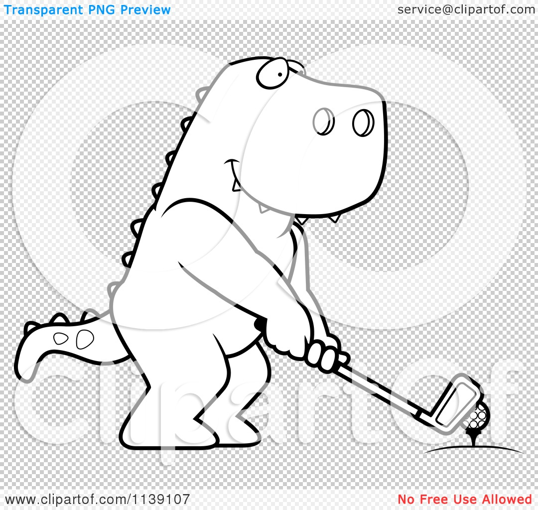 cartoon clipart of a black and white golfing t rex holding the