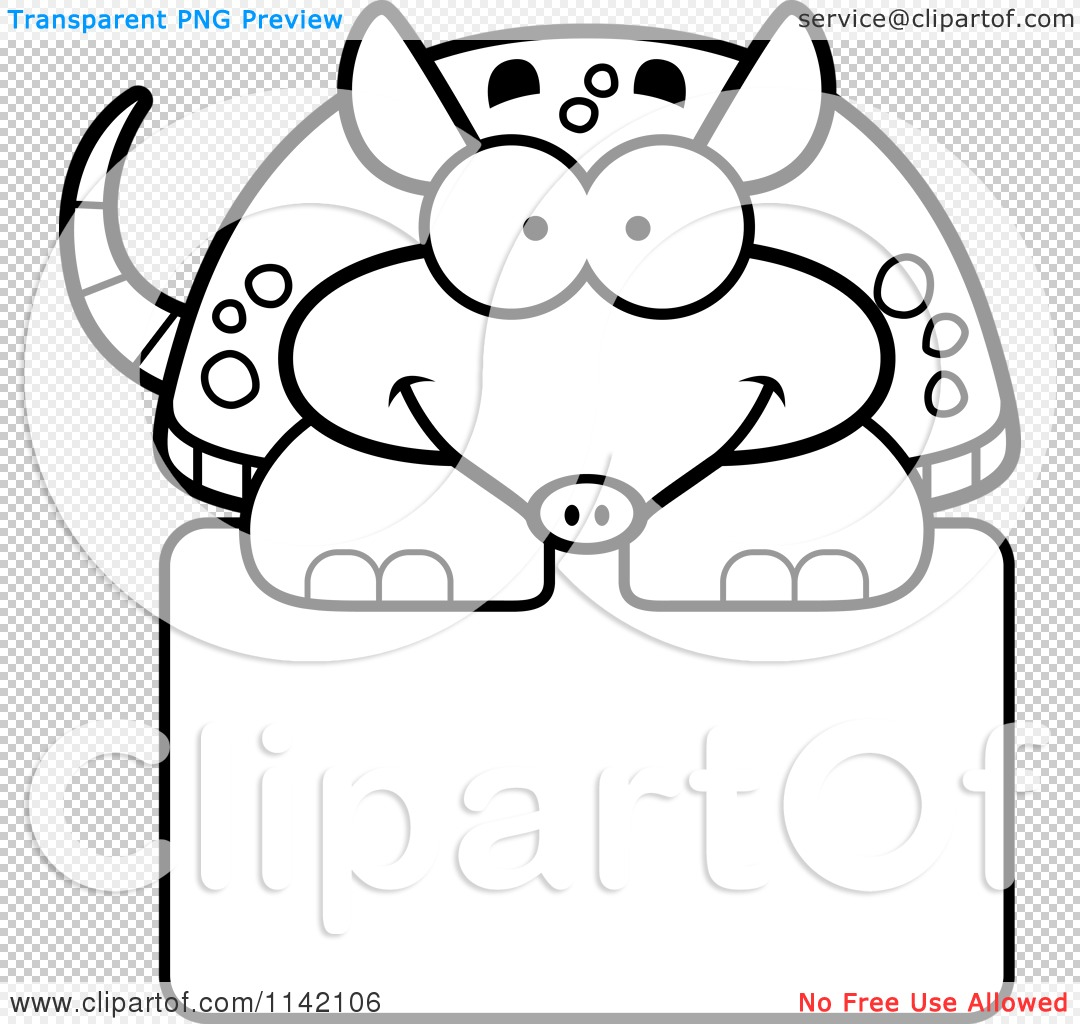 Clip Art Armadillo Coloring Pages cartoon clipart of a black and white happy armadillo over sign png file has a