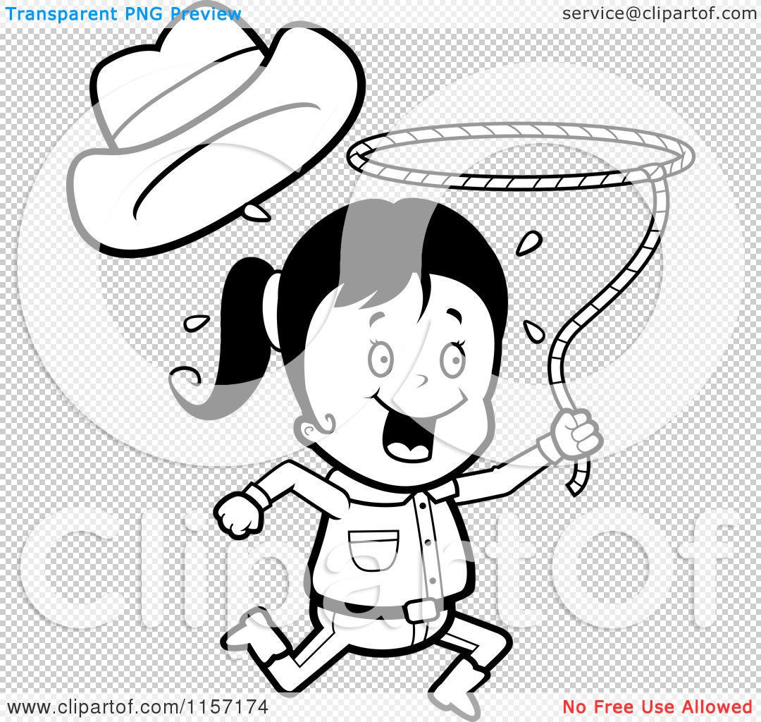 cartoon clipart of a black and white happy cowgirl running and