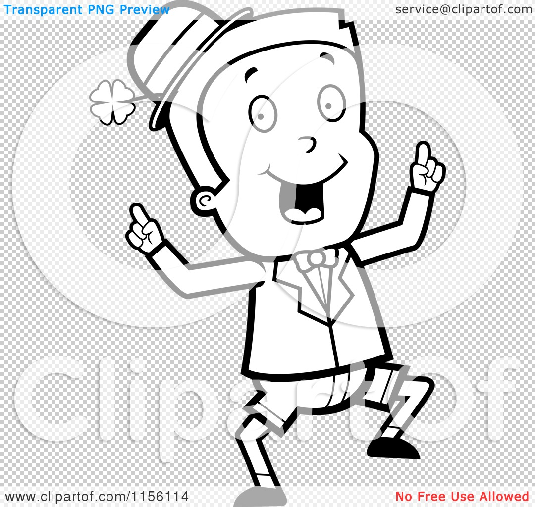 cartoon clipart of a black and white happy dancing irish