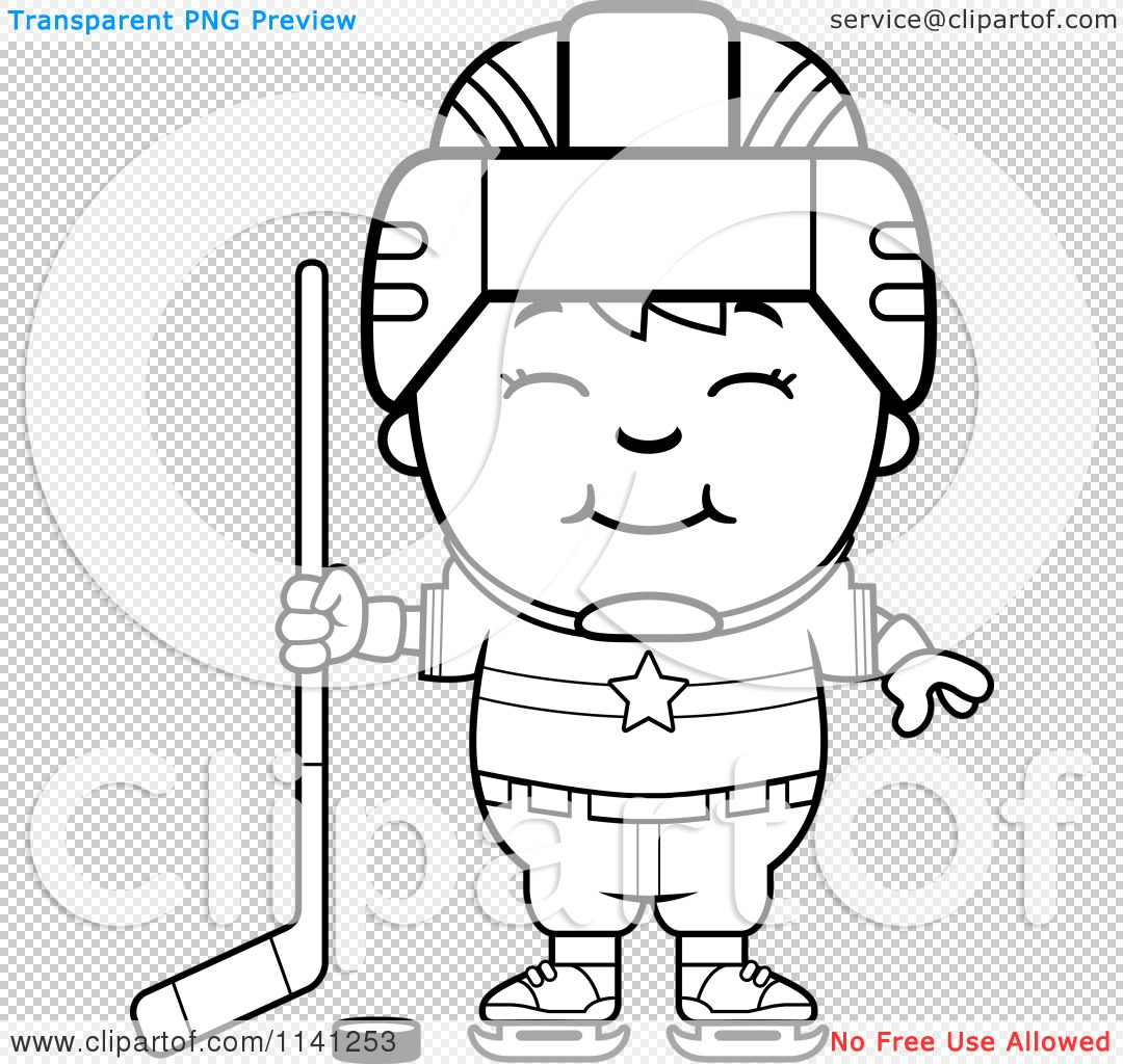 Cartoon-Clipart-Of-A-Black-And-White-Happy-Hockey-Boy-Vector-Outlined ...