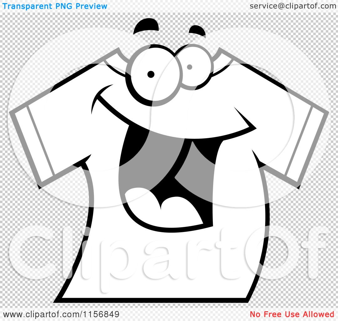 Cartoon-Clipart-Of-A-Black-And-White-Happy-Smiling-T-Shirt-Vector ...