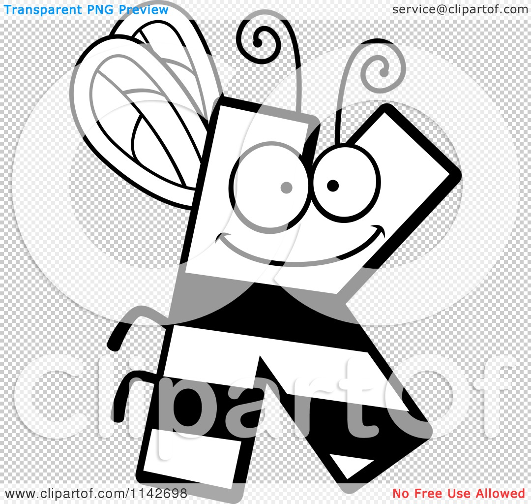 cartoon clipart of a black and white letter k bug vector