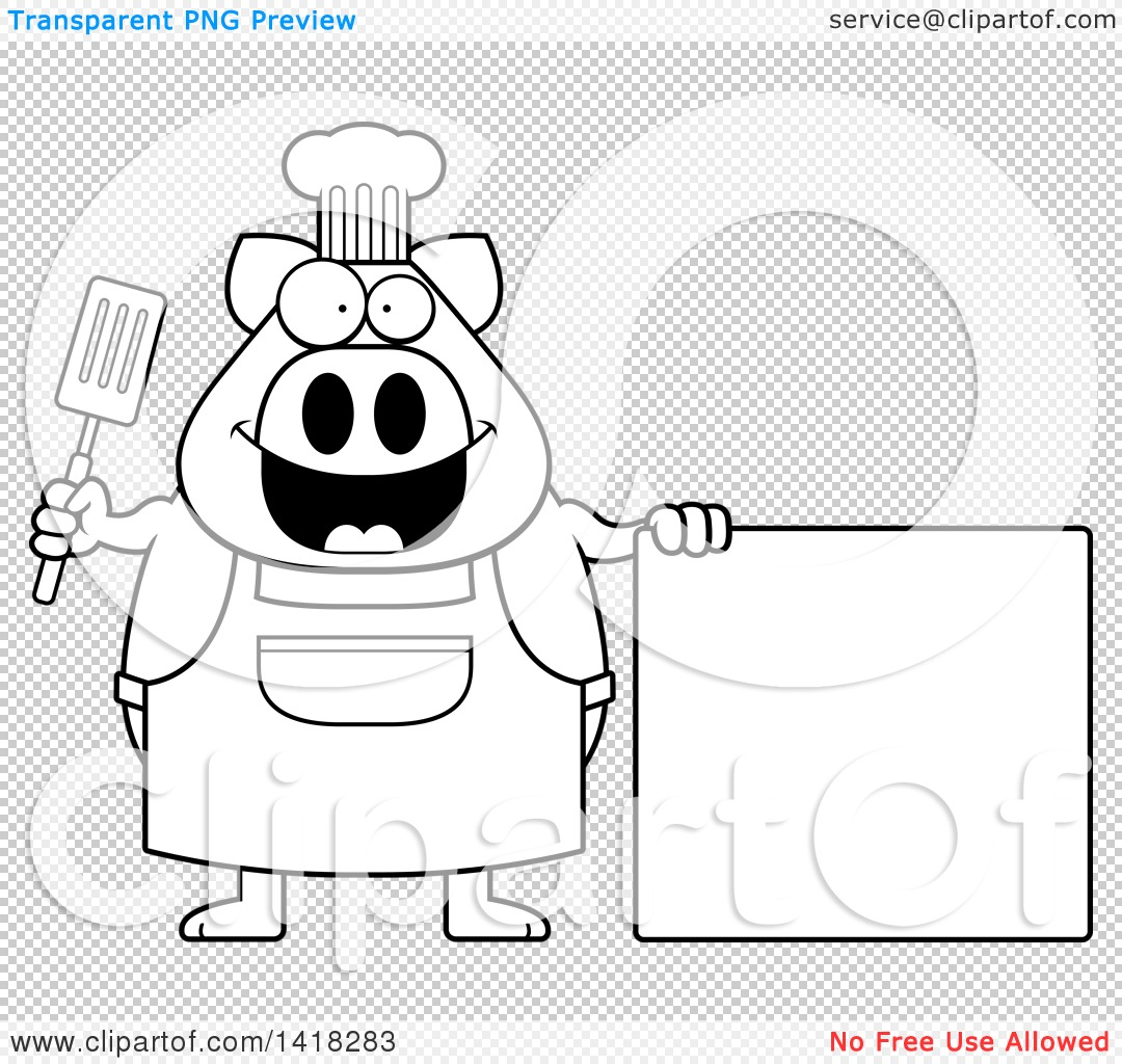 Cartoon Clipart of a Black and White Lineart Chef Pig Holding a ...