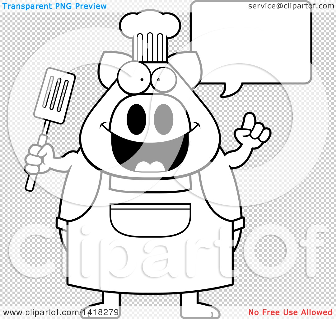 Cartoon Clipart of a Black and White Lineart Chef Pig Talking and ...