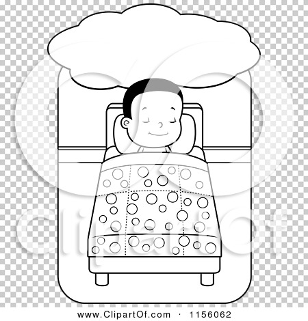 Cartoon Clipart Of A Black And White Little Boy Dreaming Sleeping In Bed