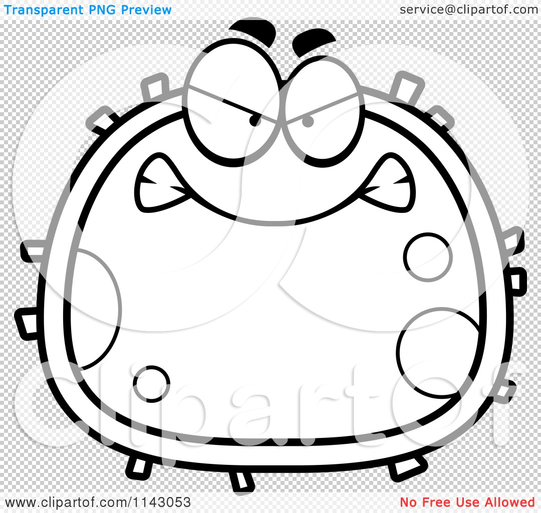 cartoon clipart of a black and white mad blood cell