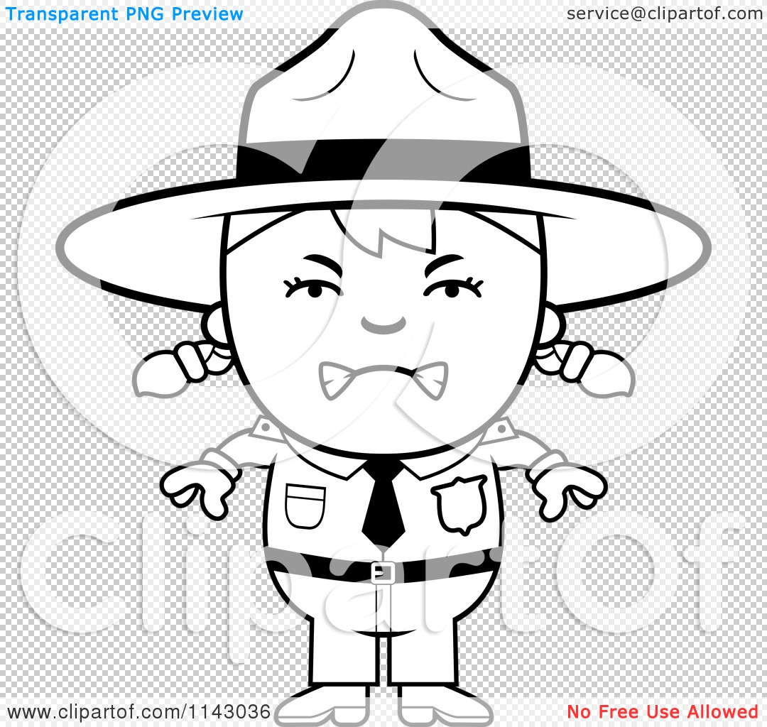 Cartoon Clipart Of A Black And White Mad Forest Ranger Girl - Vector ...