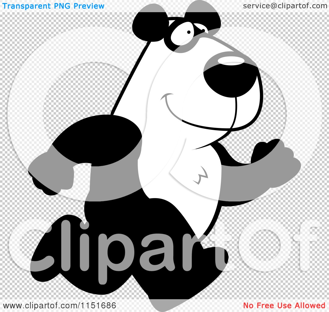 cartoon clipart of a black and white panda running vector