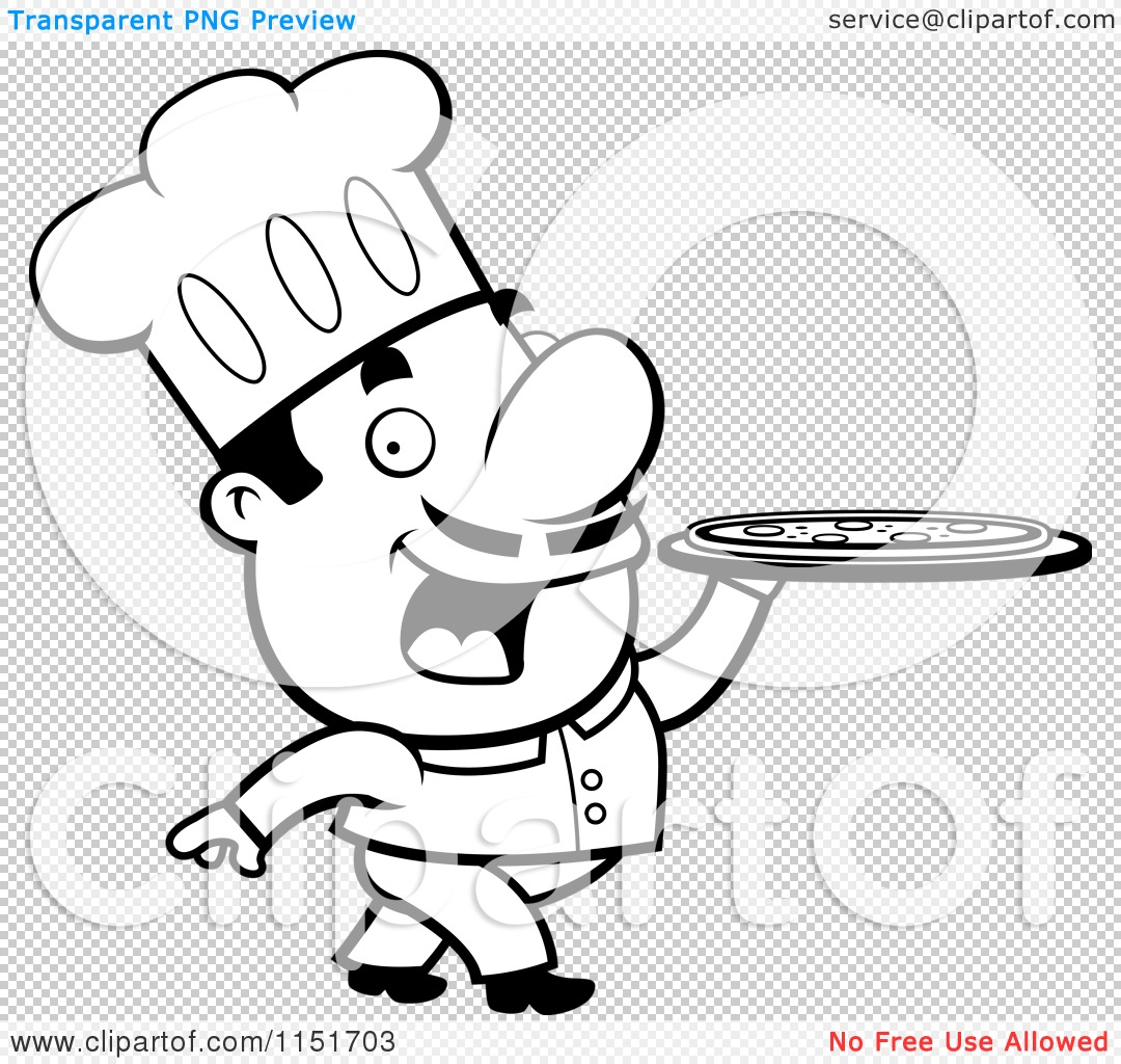 cartoon clipart of a black and white pizzeria chef walking with a