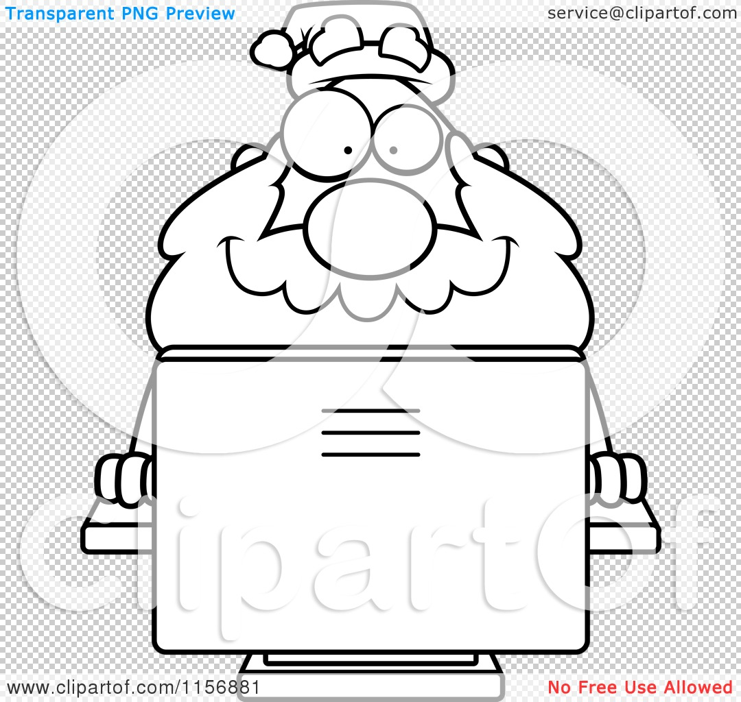 Cartoon Clipart Of A Black And White Plump Santa Using a Desktop ...