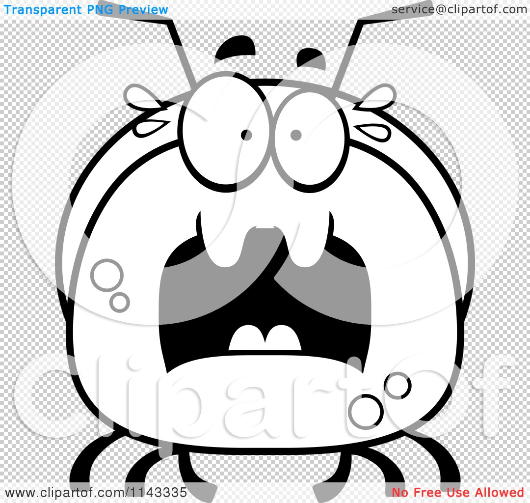 cartoon clipart of a black and white pudgy scared ant vector