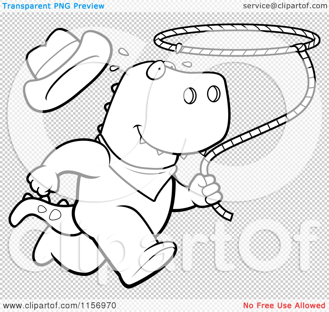 Cartoon-Clipart-Of-A-Black-And-White-Rodeo-T-Rex-Running-With-A-Lasso-Vector-Outlined-Coloring-Page-10241156970