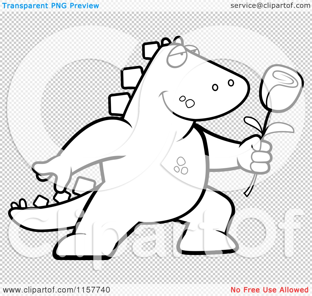 cartoon clipart of a black and white romantic dinosaur presenting