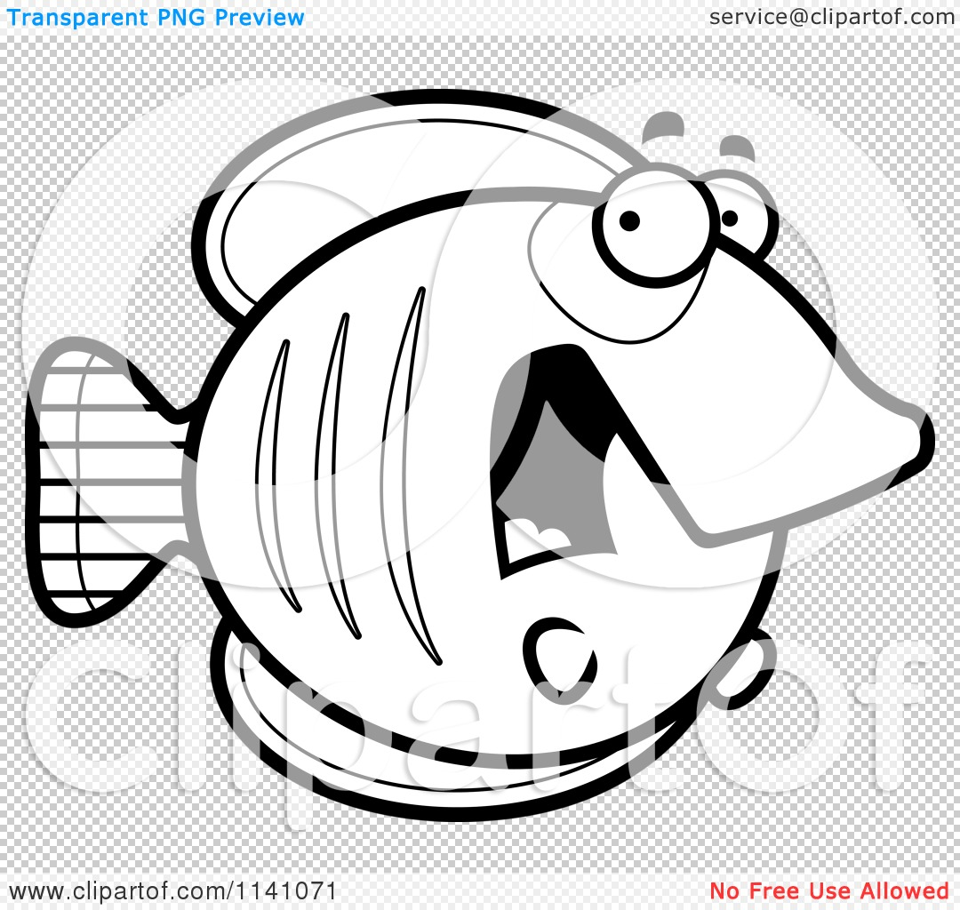 cartoon clipart of a black and white scared butterflyfish vector