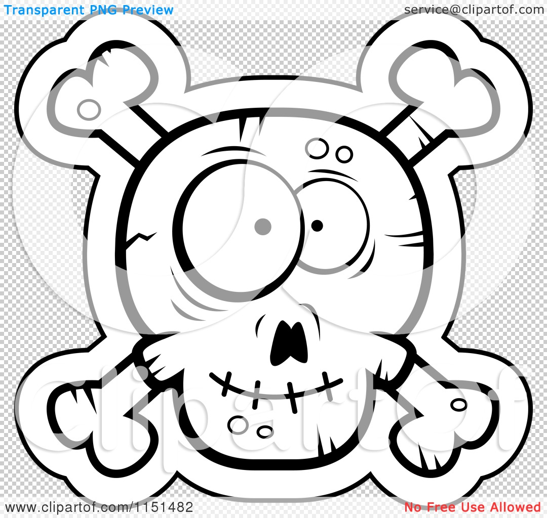 Cartoon Clipart Of A Black And White Silly Faced Skull And Crossbones Vector Outlined Coloring Page By Cory Thoman 1151482