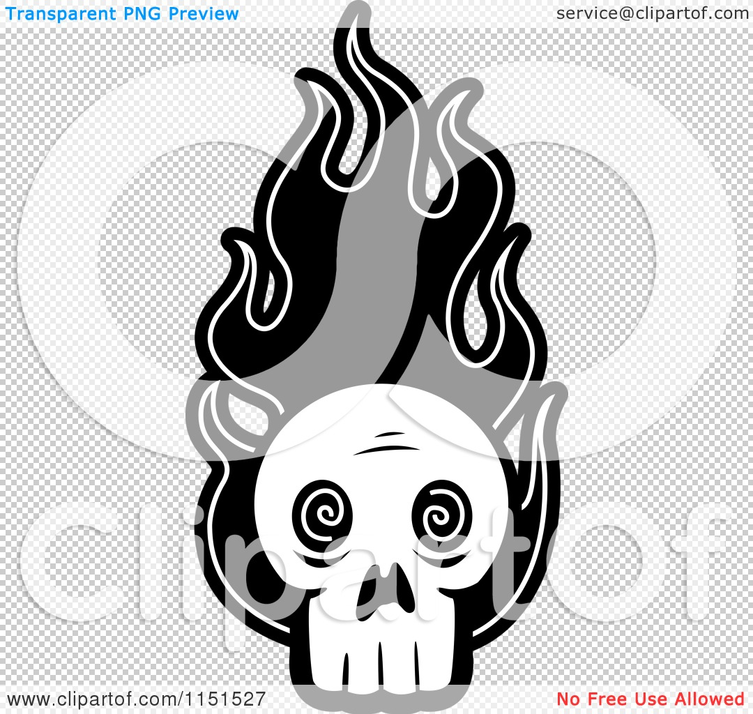 coloring pages of skulls with flames - cartoon clipart of a black and white skull with flames