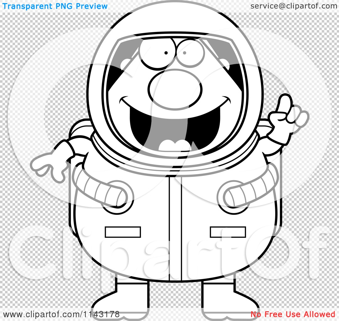 cartoon clipart of a black and white smart astronaut