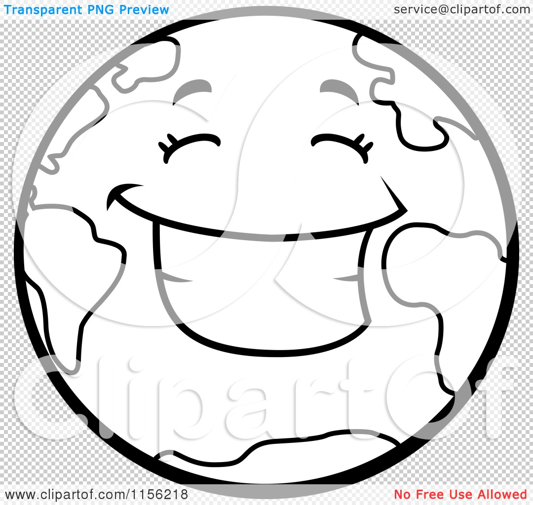 cartoon clipart of a black and white smiling happy earth vector