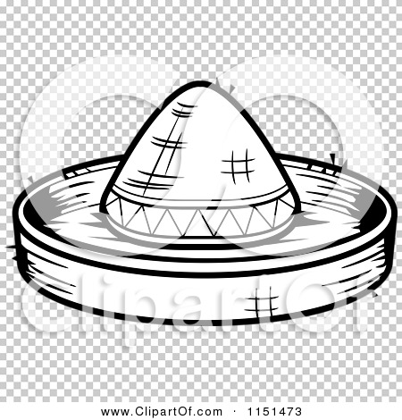 Cartoon Clipart Of A Black And White Sombrero Hat - Vector Outlined ...