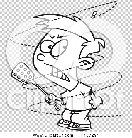 Cartoon Clipart Of A Black And White Trying to Swat a Pesty Fly ...