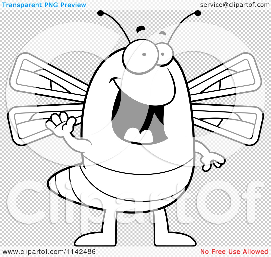cartoon clipart of a black and white waving dragonfly vector