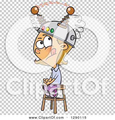 Cartoon Clipart of a Caucasian Girl Sitting on a Stool with a ...