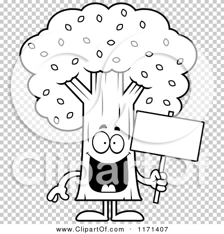 cartoon clipart of a happy tree mascot holding a sign vector outlined coloring page by cory thoman 1171407