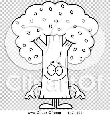 cartoon clipart of a happy tree mascot vector outlined coloring page by cory thoman 1171408