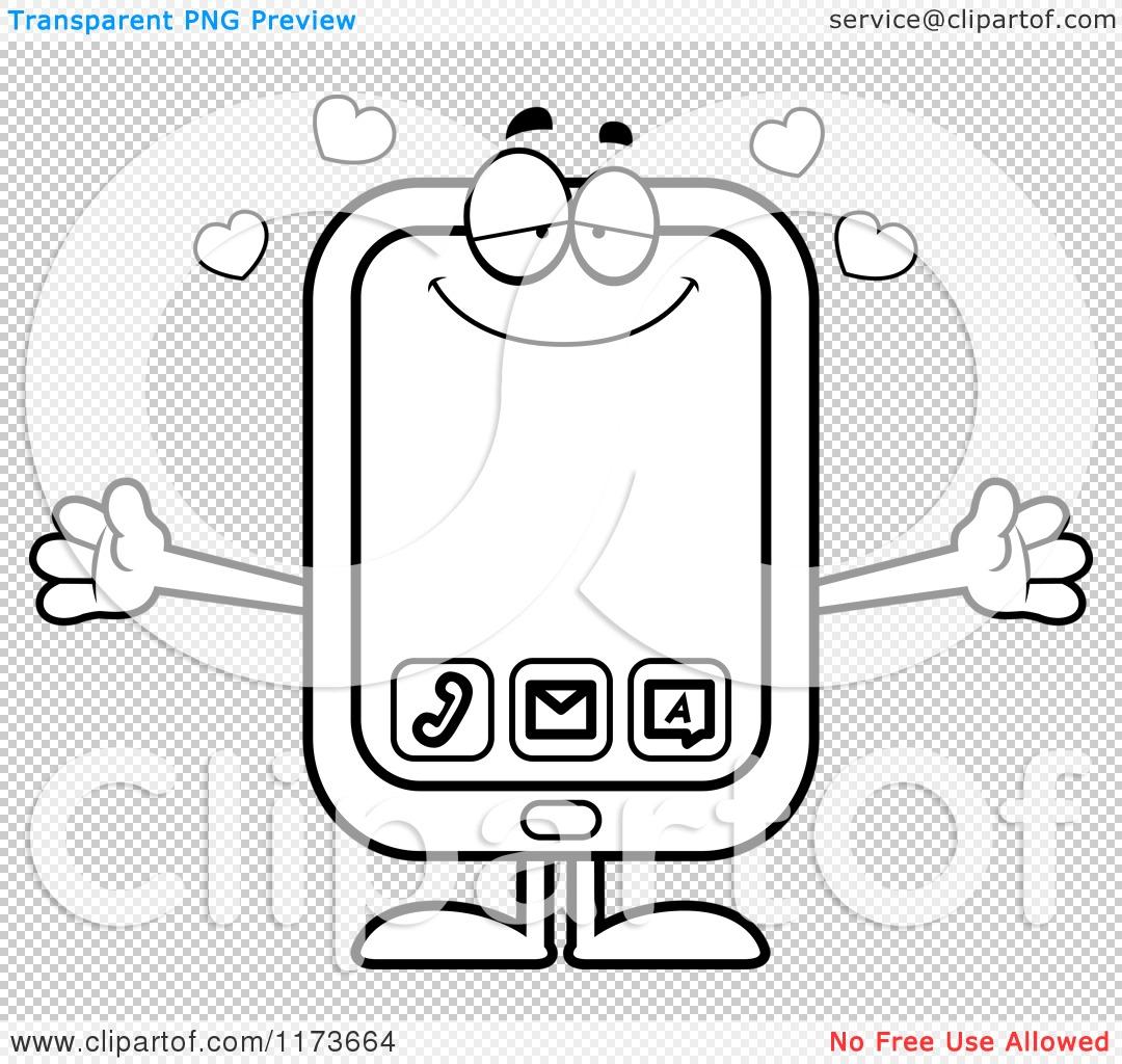 cartoon clipart of a loving smart phone mascot wanting a hug